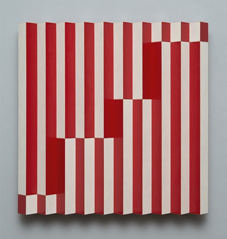 red white stripes interactive abstract grid woodworking colorful playful op art relief wood sculpture by artist Emi Ozawa