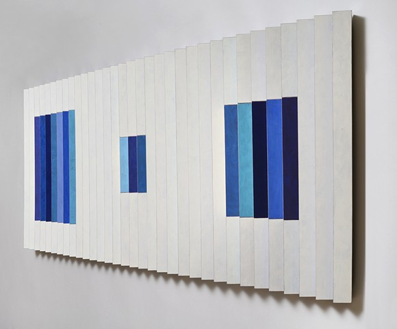 white blue stripes abstract grid woodworking colorful playful relief wood sculpture by artist Emi Ozawa