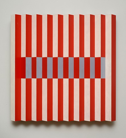 red stripes op art interactive abstract grid woodworking colorful playful relief wood sculpture by artist Emi Ozawa