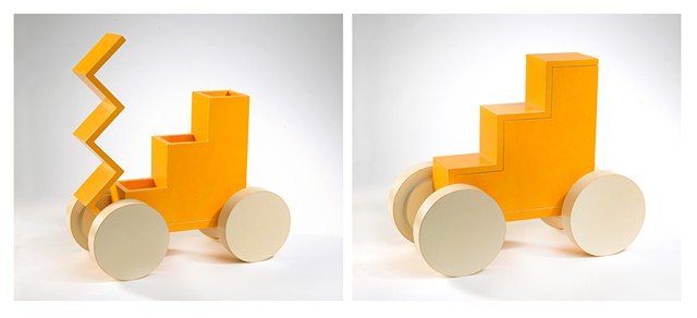yellow tangerine woodworking colorful playful kinetic wood sculpture by artist Emi Ozawa