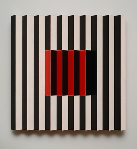 red black stripes interactive abstract grid woodworking colorful playful relief wood sculpture by artist Emi Ozawa