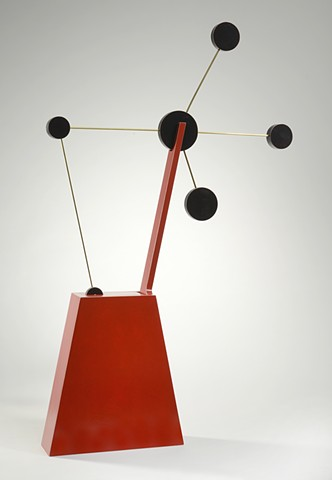 red constellation woodworking colorful playful kinetic wood sculpture by artist Emi Ozawa