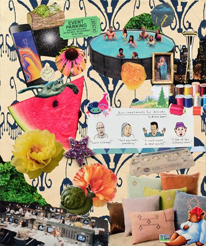 mixed-media contemporary collage on paper samsung galaxy 8 sea turtle watermelon above ground pool yellow flowers snail sleepy-time tea bear pillows mission control major tom wooden stars outer space trolls friends by Holly Campbell
