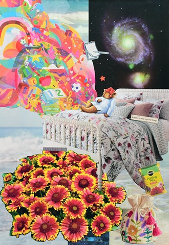 mixed-media collage on paper of sleepy-time tea bear on a bed red yellow and orange flowers space star swirl the ocean and magic satchel by Holly Campbell
