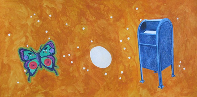mixed media drawing on paper butterfly egg and mailbox in outer space by Holly Campbell
