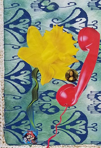 mixed-media collage on paper of, red phone, Mario Nintendo, and Mona Lisa with a chunky sweater pattern and a yellow daffodil by Holly Campbell