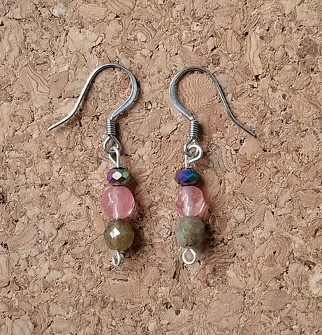earrings made with strawberry colored glass and labradorite beads with stainless steel ear hooks