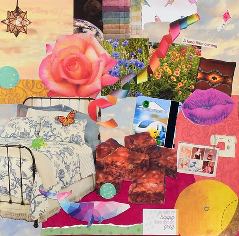 collage on paper with brownies bed lips pink rose ribbons rainbow a dolphin by Holly Campbell