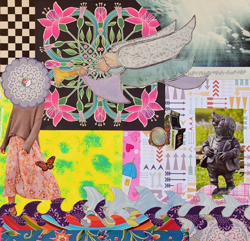 archangel gabriel, trumpet, art-deco flowers, sky, checker-board, mandallas, rings, arrows, mono-prints, yellow, waves, mixed-media papers, collages, fairy houses, sequins