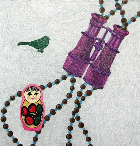 drawing color pencil beads green bird purple binoculars russian nesting doll by Holly Campbell