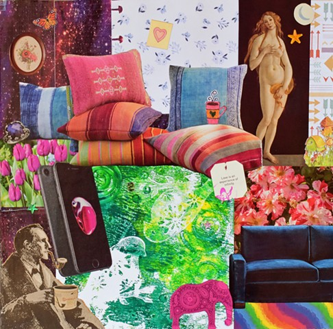 mono-printed mixed-media collage on paper with venus Botticelli pillows rainbow duct tape sherlock holmes blue velvet couch elephants samsung galaxy arrows coffee cups birdhouses bird stencils by Holly Campbell