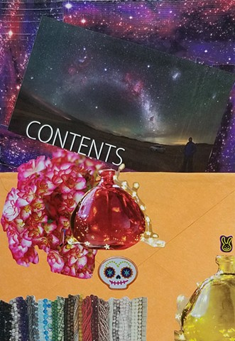 mixed-media collage on paperwith orange envelope Dia de Los Muertos sticker constellations galaxy duct tape by Holly Campbell