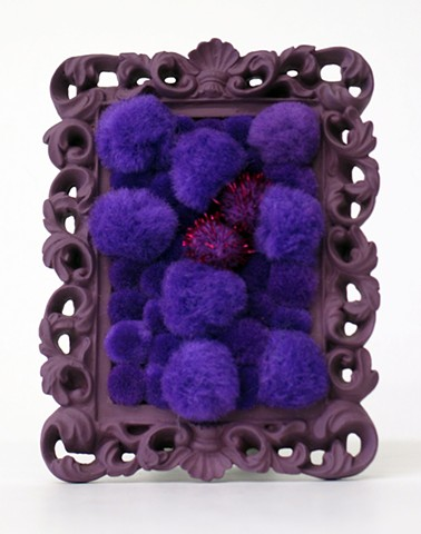 sculpture found picture frames painted purple with shiny purple pom poms by Holly Campbell