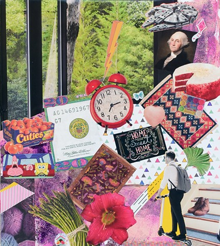 mixed-media contemporary collage on paper ephemera mono-printing ginko leaves cuties alarm clocks rugs scooters yarn boots evergreen trees windows and the milenium falcon by Holly Campbell