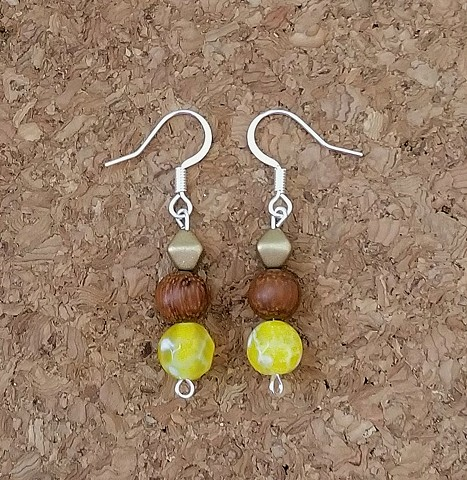 earrings bright yellow agate wood Czech glass beaded earrings with sterling-silver plated ear hooks by Holly Campbell