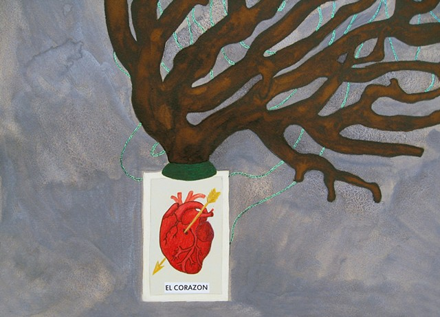 mixed media drawing of loteria card el corazon heart glitter glue butterfly coral branch watercolor by Holly Campbell