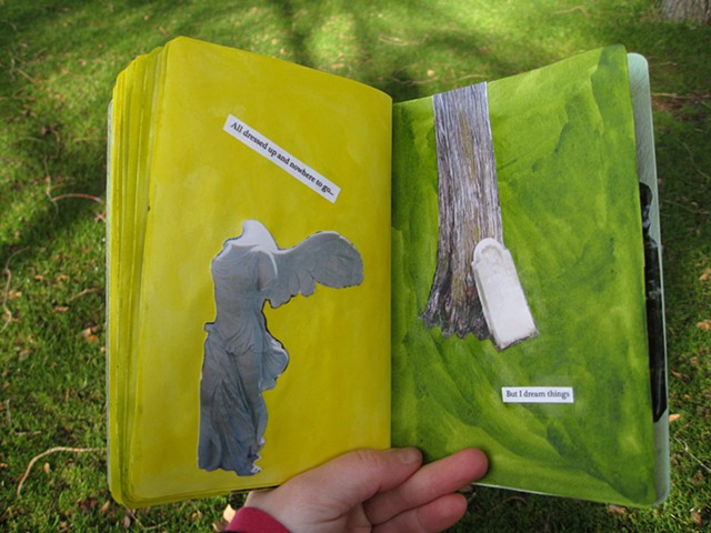 2012 sketchbook project yellow green pages headless angel tombstone by tree by Holly Campbell