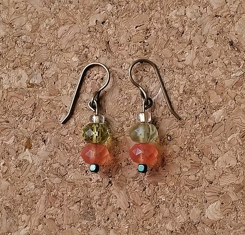 earrings with melon and lime colored glass and hematite beads with genuine brass ear hooks