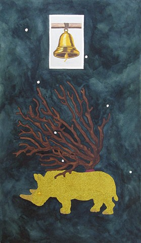 mixed media drawing on paper bell loteria card gold glittered rhino coral branch constellation in night sky by Holly Campbell