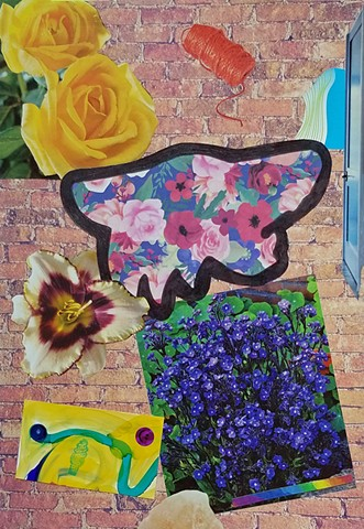 mixed-media collage on paper with AZ coyotoes yellow roses striped irises smiley face stickers alcohol inks purple flowers blue door red-orange twine and brick wall background by Holly Campbell