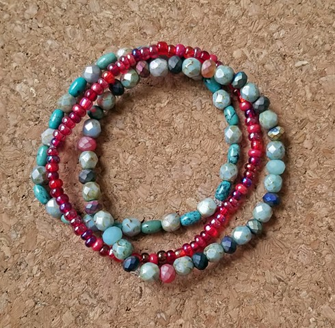 bracelets turquoise red seed beads czech glass beaded multi-strand bracelets with stretch cord by Holly Campbell