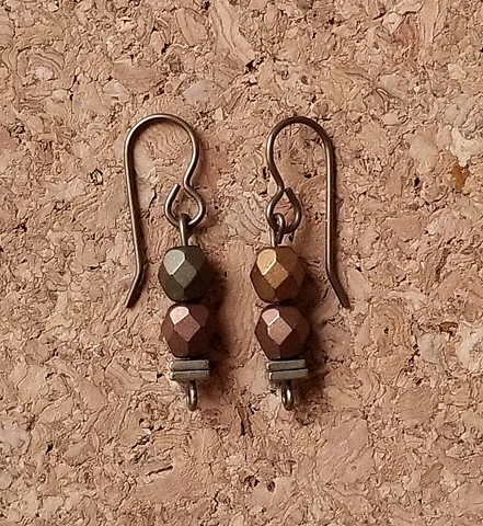 earrings made with metallic beads and hematite with genuine brass ear hooks
