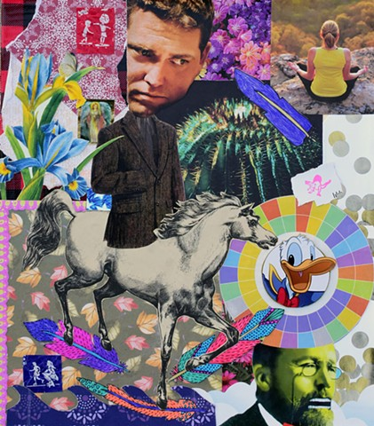 mixed-media collage on paper sport jacket cactus meditation horse donald duck leaves irises tootsie pop wrappers ephemera duct tape dinosaurs circles feathers sigmund freud waves flowers by Holly Campbell
