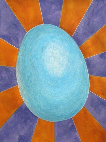 Every Good and Perfect Gift is From Above. - James 1:17 large blue egg with radiating lined glittered background watercolor oil pastel by Holly Campbell