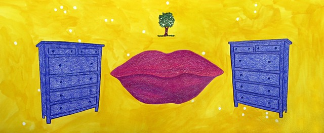 mixed media drawing on paper dressers large lips small tree glitter glitter glue in outer space by Holly Campbell
