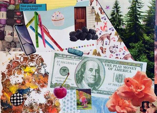 markers, highlighters, mixed-media collage on paper, contemporary collage, woman artist, cupcakes, envelopes, Benjamin Franklin, hundred dollar bills, lilys, waves, evergreen trees, srpuce trees, wooden doors, blackberries, foxes, racoons, deer