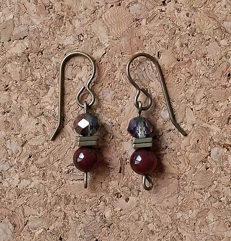 earrings smoky faceted glass, hematite and dark carnelian beads with genuine brass ear hooks