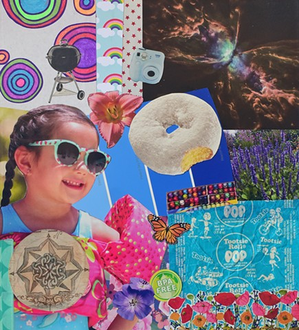 contemporary collage on paper sunglasses doughnuts crayons crayola swim-floatees compass tootsie pop wrappers blues lavendar hubble image radial circles polaroid camera rainbows red stars summer by Holly Campbell