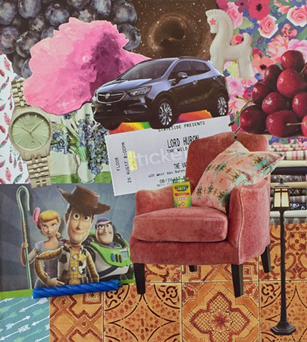 ephemera collage on paper, swiss-army watches, lord huron, crayola, crayons, pink chair, cherries, quartz crystals, buick encore, blueberries, black-holes, pillows, fabric stacks, floor-tiles, lamp-post, feathers, trojan horses birthday candles, and arrow