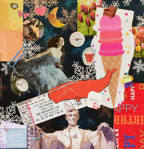 mixed-media collage on paper, contemporary collage with ephemera, candles, Abraham Lincoln ice cream cones headless lego figure paperclip compas whales and foo fighters ticket