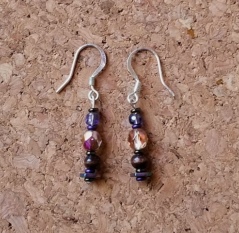earrings purple bohemain wood hematite glass seed beads with silver earhooks by Holly Campbell
