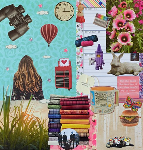 contemporary collage on paper mixed-media various papers ephemera woman staring up at the sky hot air balloon purple crayon lego green grass growing binnoculars fabric piles clocks rabbit and cheeseburger expidition by Holly Campbell