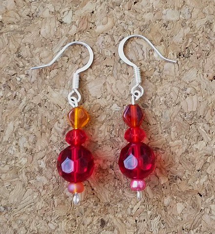 earrings red glass seed beaded earrings with silver plated ear hooks by Holly Campbell