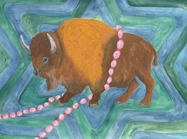 mixed media drawing buffalo on paper pink beads radiating star patterned background by Holly Campbell
