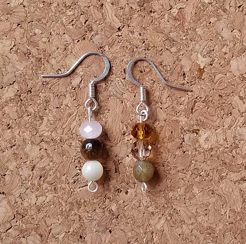 earrings made with shell, glass tiger eye and labradorite with stainless steel ear hooks