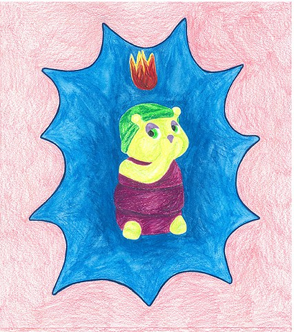 color pencil drawing on paper glow stink bug with pentecostal flame by Holly Campbell