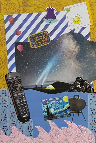 mixed-media collage on paper with remote control tent and star gazers golden swirly background Vincet Van Gogh's Starry Starry Night blackberries polkadots and pink mandala waves by Holly Campbell