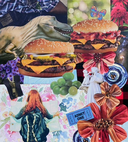 mixed media collage on paper cheese burgers bacon tyrannosaurus rex yarn flowers limes maps saint anthony baby jesusadmit one ticket butterfly outer space jeans levis duct tape flannel ephemera by Holly Campbell