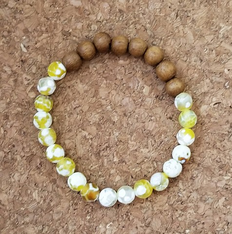 Bracelet with yellow white spotted agate beads spherical wood beaded bracelet by Holly Campbell