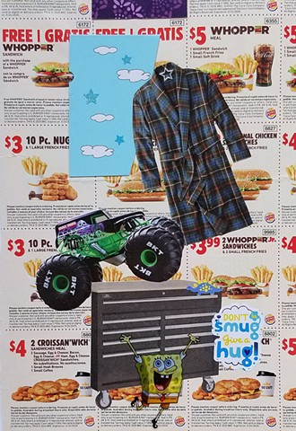 mixed-media collage on paper with Burger King coupons a men's plaid flannel bathrobe a Spongebob-Square-pants sticker by Holly Campbell