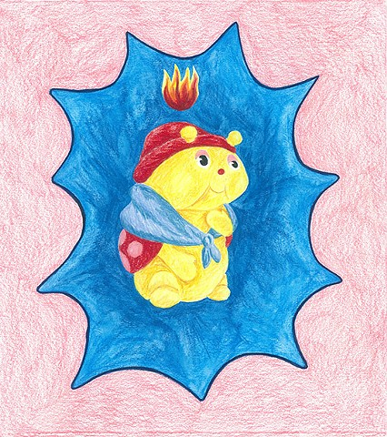 color pencil drawing on paper glow grandma ladybug with pentecostal flame by Holly Campbell