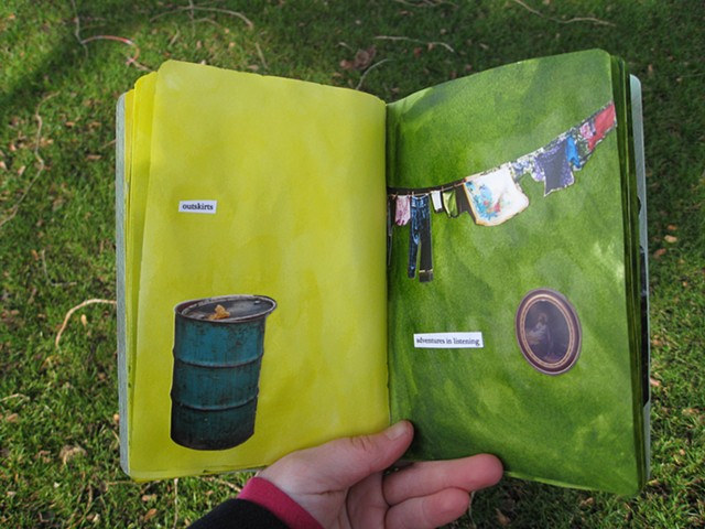 2012 sketchbook project turquoise trash can on yellow page clothesline and oval jesus picture on green page by Holly Campbell