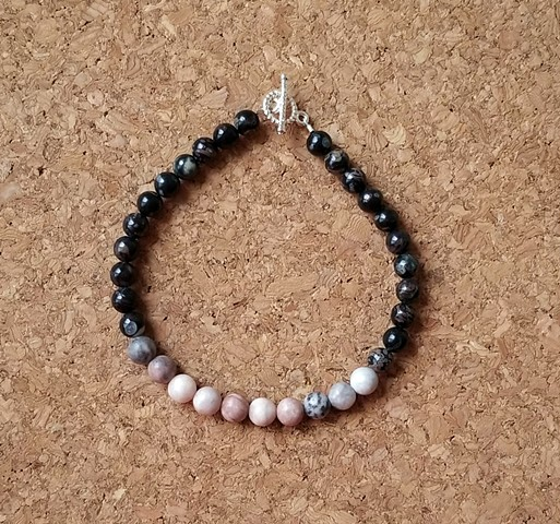 bracelets black banded agate pink zebra stone with a silver plated toggle clasp by Holly Campbell
