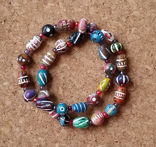 beaded bracelets with multi-color ceramic beads red and magenta seed beads by Holly Campbell