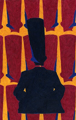 color pencil draing on paper of abraham lincoln like figure sitting down with repeating tall top hats in red gold and blue by Holly Campbell