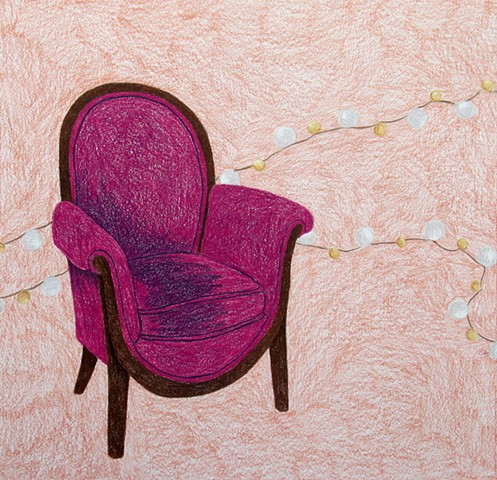 drawing color pencil magenta chair beaded pearls by Holly Campbell